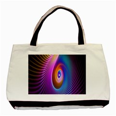 Abstract Fractal Bright Hole Wave Chevron Gold Purple Blue Green Basic Tote Bag by Mariart