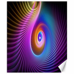 Abstract Fractal Bright Hole Wave Chevron Gold Purple Blue Green Canvas 8  X 10  by Mariart