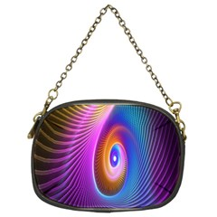 Abstract Fractal Bright Hole Wave Chevron Gold Purple Blue Green Chain Purses (two Sides)  by Mariart