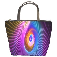 Abstract Fractal Bright Hole Wave Chevron Gold Purple Blue Green Bucket Bags by Mariart
