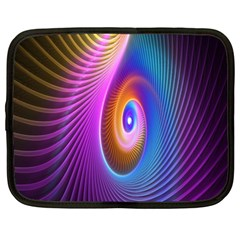 Abstract Fractal Bright Hole Wave Chevron Gold Purple Blue Green Netbook Case (xxl)  by Mariart