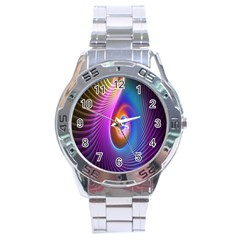 Abstract Fractal Bright Hole Wave Chevron Gold Purple Blue Green Stainless Steel Analogue Watch by Mariart