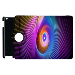 Abstract Fractal Bright Hole Wave Chevron Gold Purple Blue Green Apple Ipad 3/4 Flip 360 Case by Mariart