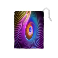Abstract Fractal Bright Hole Wave Chevron Gold Purple Blue Green Drawstring Pouches (medium)  by Mariart