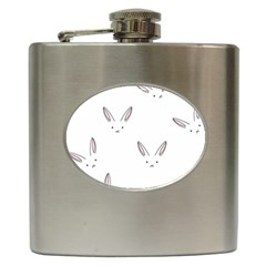 Bunny Line Rabbit Face Animals White Pink Hip Flask (6 Oz) by Mariart