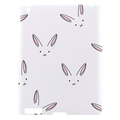 Bunny Line Rabbit Face Animals White Pink Apple Ipad 3/4 Hardshell Case by Mariart