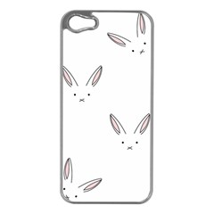 Bunny Line Rabbit Face Animals White Pink Apple Iphone 5 Case (silver) by Mariart