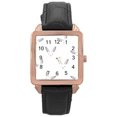 Bunny Line Rabbit Face Animals White Pink Rose Gold Leather Watch  by Mariart