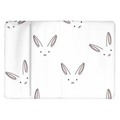 Bunny Line Rabbit Face Animals White Pink Samsung Galaxy Tab 10 1  P7500 Flip Case by Mariart