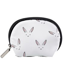 Bunny Line Rabbit Face Animals White Pink Accessory Pouches (small)  by Mariart