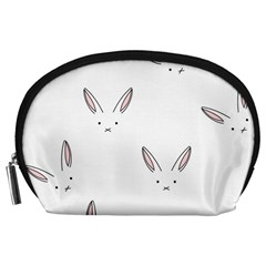 Bunny Line Rabbit Face Animals White Pink Accessory Pouches (large)  by Mariart