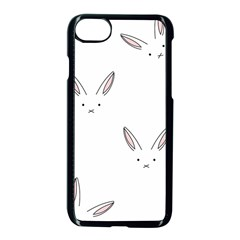 Bunny Line Rabbit Face Animals White Pink Apple Iphone 7 Seamless Case (black) by Mariart