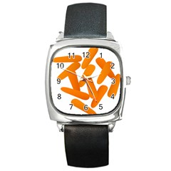 Carrot Vegetables Orange Square Metal Watch by Mariart