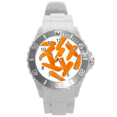Carrot Vegetables Orange Round Plastic Sport Watch (l) by Mariart