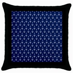 Blue White Anchor Throw Pillow Case (black) by Mariart