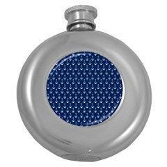 Blue White Anchor Round Hip Flask (5 Oz) by Mariart