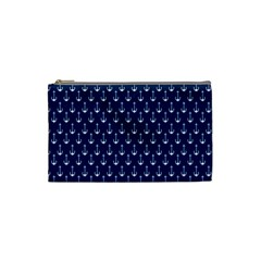 Blue White Anchor Cosmetic Bag (small)  by Mariart
