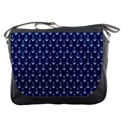 Blue White Anchor Messenger Bags by Mariart