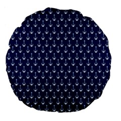 Blue White Anchor Large 18  Premium Flano Round Cushions by Mariart