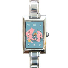 Coins Pink Coins Piggy Bank Dollars Money Tubes Rectangle Italian Charm Watch by Mariart