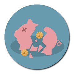 Coins Pink Coins Piggy Bank Dollars Money Tubes Round Mousepads