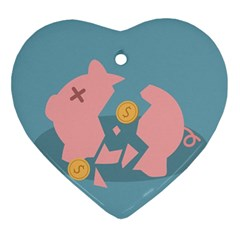 Coins Pink Coins Piggy Bank Dollars Money Tubes Ornament (heart) by Mariart