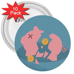 Coins Pink Coins Piggy Bank Dollars Money Tubes 3  Buttons (10 Pack)