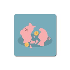Coins Pink Coins Piggy Bank Dollars Money Tubes Square Magnet by Mariart