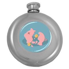 Coins Pink Coins Piggy Bank Dollars Money Tubes Round Hip Flask (5 Oz) by Mariart
