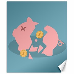 Coins Pink Coins Piggy Bank Dollars Money Tubes Canvas 20  X 24   by Mariart