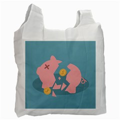 Coins Pink Coins Piggy Bank Dollars Money Tubes Recycle Bag (one Side) by Mariart