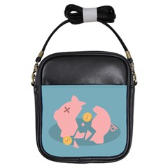 Coins Pink Coins Piggy Bank Dollars Money Tubes Girls Sling Bags by Mariart