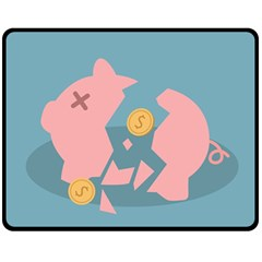 Coins Pink Coins Piggy Bank Dollars Money Tubes Fleece Blanket (medium)  by Mariart
