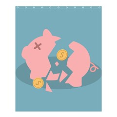 Coins Pink Coins Piggy Bank Dollars Money Tubes Shower Curtain 60  X 72  (medium)  by Mariart