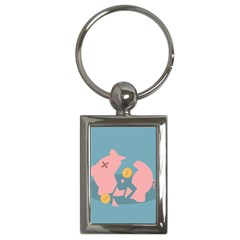 Coins Pink Coins Piggy Bank Dollars Money Tubes Key Chains (rectangle)  by Mariart