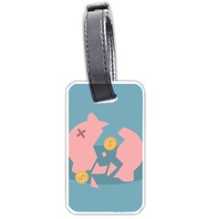 Coins Pink Coins Piggy Bank Dollars Money Tubes Luggage Tags (one Side)  by Mariart