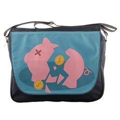 Coins Pink Coins Piggy Bank Dollars Money Tubes Messenger Bags by Mariart