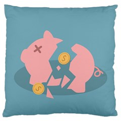Coins Pink Coins Piggy Bank Dollars Money Tubes Large Flano Cushion Case (one Side) by Mariart