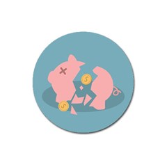 Coins Pink Coins Piggy Bank Dollars Money Tubes Magnet 3  (round)