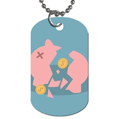 Coins Pink Coins Piggy Bank Dollars Money Tubes Dog Tag (two Sides) by Mariart