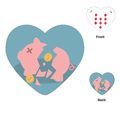 Coins Pink Coins Piggy Bank Dollars Money Tubes Playing Cards (heart)  by Mariart