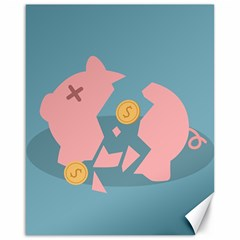 Coins Pink Coins Piggy Bank Dollars Money Tubes Canvas 16  X 20   by Mariart