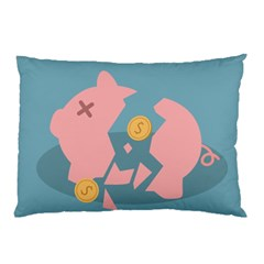 Coins Pink Coins Piggy Bank Dollars Money Tubes Pillow Case by Mariart