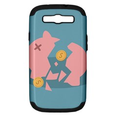 Coins Pink Coins Piggy Bank Dollars Money Tubes Samsung Galaxy S Iii Hardshell Case (pc+silicone)