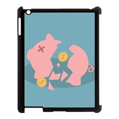 Coins Pink Coins Piggy Bank Dollars Money Tubes Apple Ipad 3/4 Case (black) by Mariart