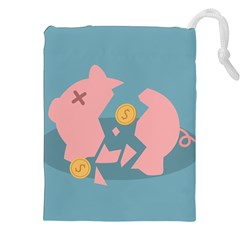 Coins Pink Coins Piggy Bank Dollars Money Tubes Drawstring Pouches (xxl) by Mariart