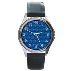 Blue Dragon Snakeskin Skin Snake Wave Chefron Round Metal Watch by Mariart