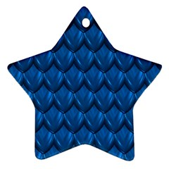 Blue Dragon Snakeskin Skin Snake Wave Chefron Star Ornament (two Sides) by Mariart