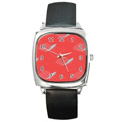 Chairs Wicker Cafe Party Comfortable Red Blue Square Metal Watch by Mariart