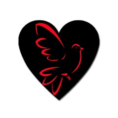 Dove Red Black Fly Animals Bird Heart Magnet by Mariart